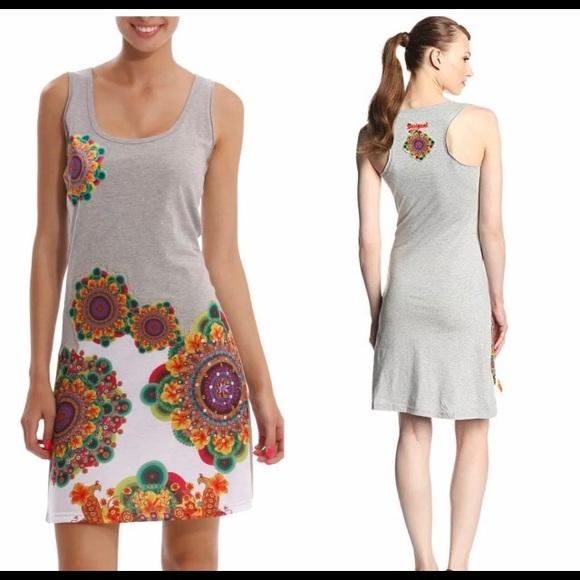 Desigual Dresses & Skirts - Desigual Tank Floral appliqué Dress Heathered